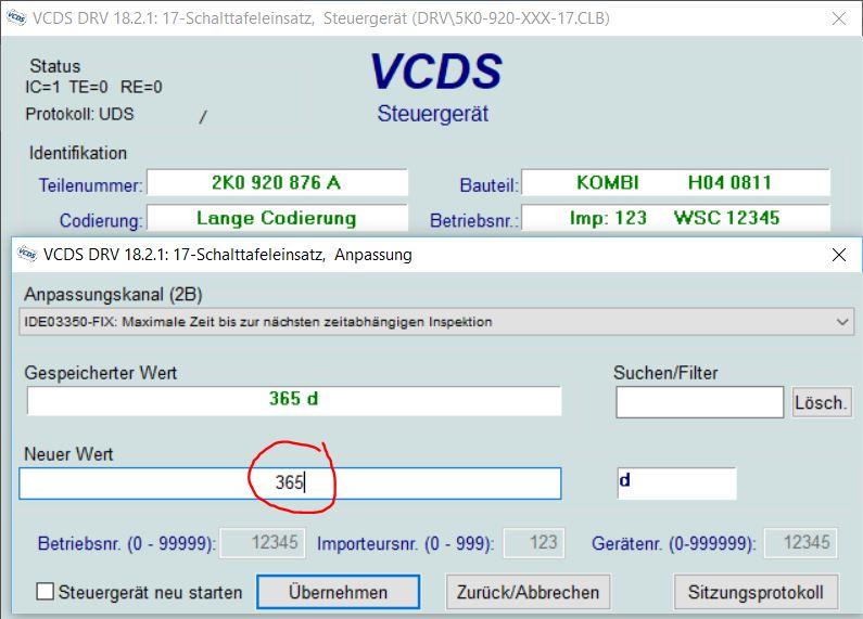 inspektion rückstellung - vcds software & hardware - das deutsche